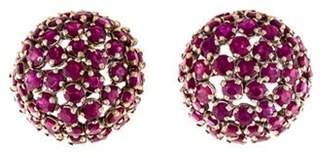 18K Ruby Dome Earrings yellow 18K Ruby Dome Earrings