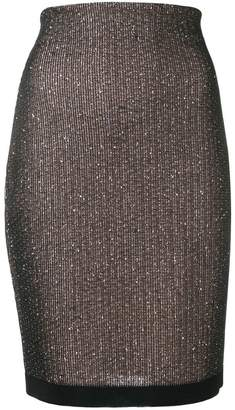 Balmain sequin embroidered pencil skirt