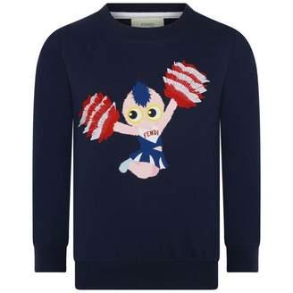 Fendi FendiGirls Navy Piro Chan Cheerleader Sweater