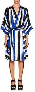 Warm WARM WOMEN'S SKETCH STRIPED SILK DRESS - BLUE SIZE 1