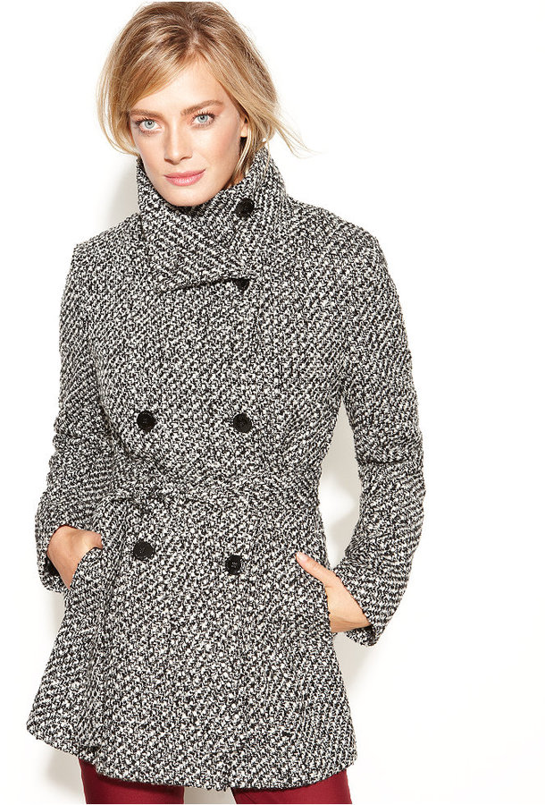 Calvin Klein Double-Breasted Belted Tweed Coat