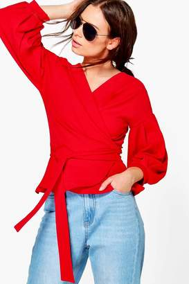 boohoo Nora Bell Sleeve Wrapover Top $32 thestylecure.com