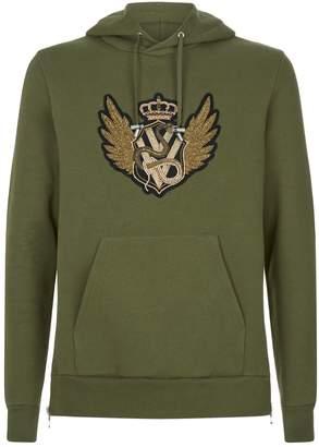 Balmain Crest Embellished Hoodie