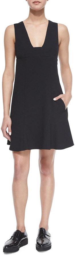 Alexander WangT by Alexander Wang Plunge-Neck A-Line Dress, Black