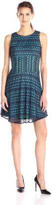 London Times Women's Ric Rac Lace Sleeveless Fit and Flare