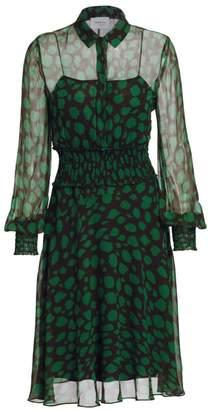 Akris Punto Leo-Print Sheer Ruched Waist Dress
