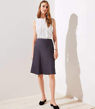 LOFT Satin Midi Skirt