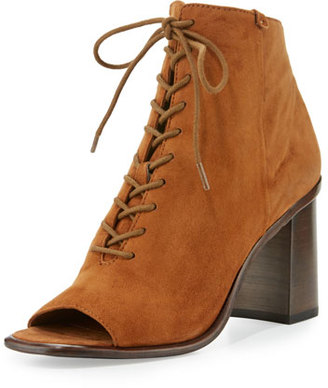 Frye Amy Open-Toe Lace-Up Bootie, Brown $398 thestylecure.com