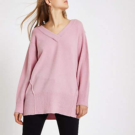 Womens Pink knit V neck jumper