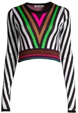 Diane von Furstenberg Chevron Wool-Blend Sweater