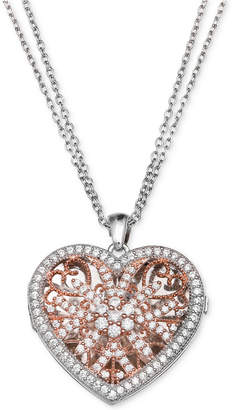 Giani Bernini Cubic Zirconia Two-Tone Locket Pendant Necklace, Created for Macy's