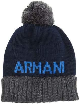 Armani Junior Logo Intarsia Wool Blend Knit Hat