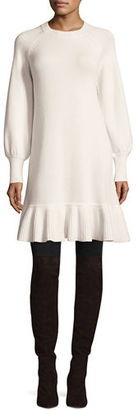 Co Long-Sleeve Ruffled-Hem Sweaterdress $795 thestylecure.com