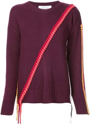 Derek Lam 10 Crosby Crewneck Sweater with Asymmetric Braid Detail
