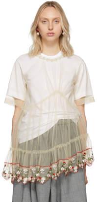 Simone Rocha White Embroidered Tulle T-Shirt