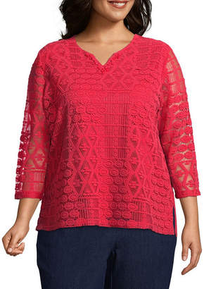 Alfred Dunner Out of the Blue Lace Tee - Plus