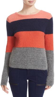 Equipment Calais Stripe V-Back Sweater $268 thestylecure.com