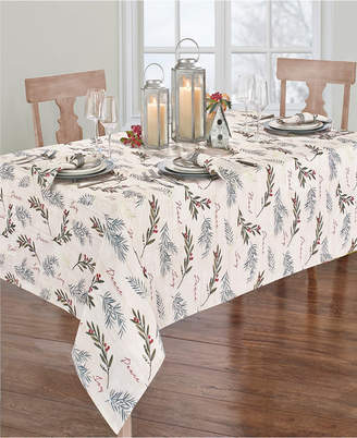 """Elrene Holiday Tree Trimmings Tablecloth - 60"""" x 84"""" Oval"""