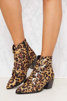Next Womens PrettyLittleThing Leopard Western Buckle Ankle Boots