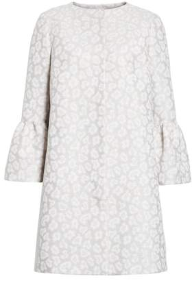Helene Berman Ruffle Sleeve Long Jacquard Jacket