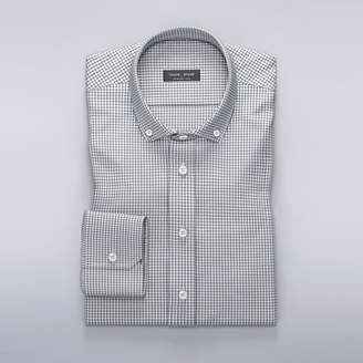 Dress shirt with small gingham pattern in gray