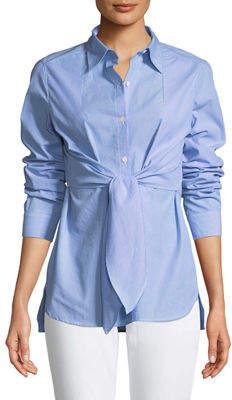 Max Studio Tie-Front Button-Front Blouse