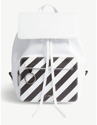 Off-White Diagonal stripe grained leather backpack