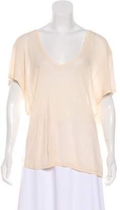 Anine Bing Silk Scoop Neck T-Shirt