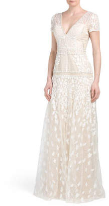 Embellished Gown With Lace Overlay