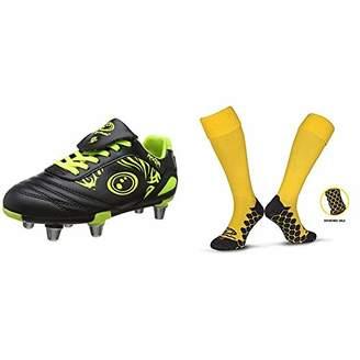 Optimum Boys Razor Rugby Boots Fluro Yellow), 36 EU with Men's Classico Sports Socks, Yellow, Junior (3-6)