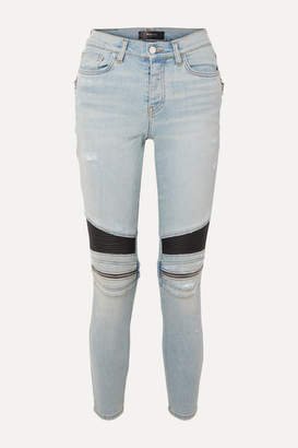 Amiri Mx2 Zip-embellished Leather-paneled High-rise Skinny Jeans - Light denim