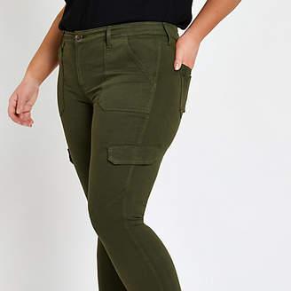 River Island Plus khaki Amelie super skinny utility jeans