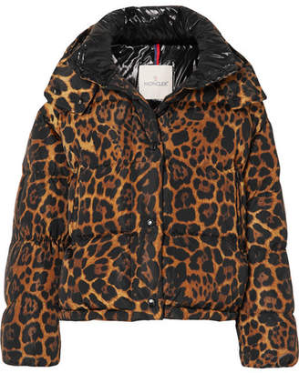 Moncler Leopard-print Quilted Shell Down Jacket - Brown
