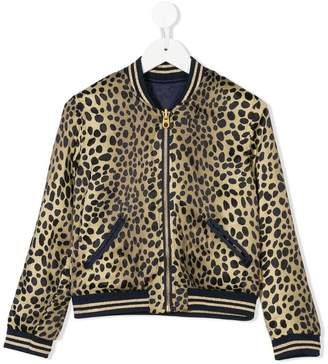 Little Marc Jacobs leopard print reversible bomber jacket