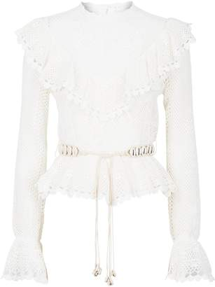 Zimmermann Crochet Ruffle Trim Blouse