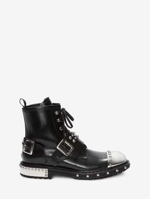 Alexander McQueen Hobnail Metal Toe-Cap Boot