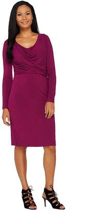 Halston H By H by Solid Cowl Neck Long Sleeve Dress