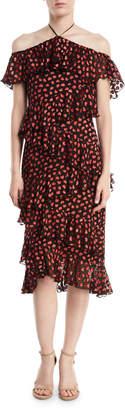 Alice + Olivia Annabeth Off-Shoulder Hearts Burnout Velvet Dress