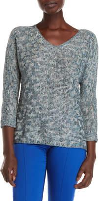 Nic+Zoe Nic + Zoe Blue Lagoon V-Neck Sweater