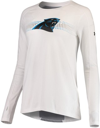Under Armour Unbranded Women's White Carolina Panthers Combine Authentic Dot Stripe Long Sleeve Favorites T-Shirt