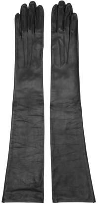Erdem Black Leather Midi Gloves