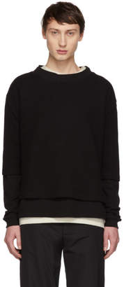 424 Black Waffle Double Layer Sweater