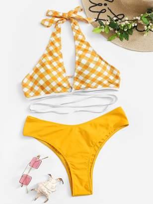 Shein Gingham Strappy Halter Top With Cheeky Bikini Set