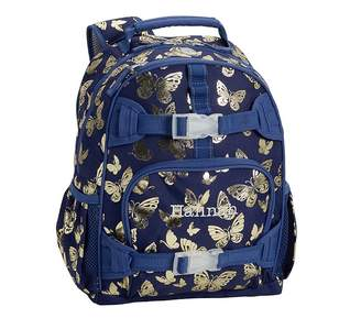 5c569caaef Pottery Barn Kids Mackenzie Navy Gold Foil Butterflies Classic Lunch Bag