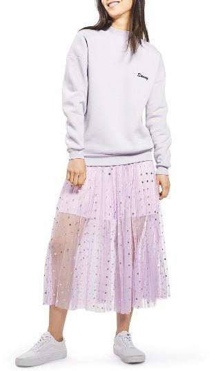 TopshopWomen's Topshop Foil Dot Pleat Midi Skirt