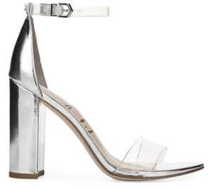 Sam Edelman Yaro Vinyl& Metallic Leather Ankle Strap Heels