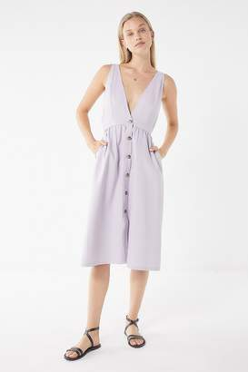 Urban Outfitters Danny Plunging Button-Down Denim Midi Dress