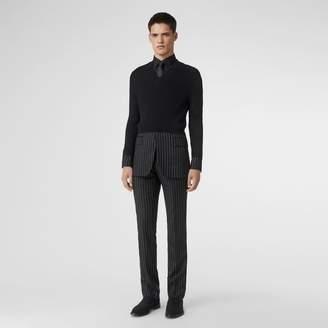 Burberry Tailored Panel Rib Knit Silk Blend Sweater