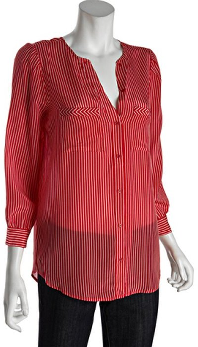 Joie currant and white striped silk 'Clarita' long sleeve button front blouse