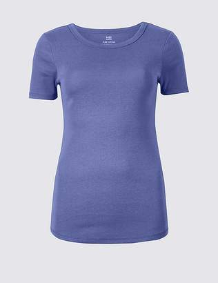 Marks and Spencer Cotton Rib Crew Neck T-Shirt